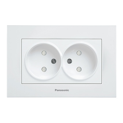 Double Socket 2P, With Safety Shutter, Complete WKTC0214-2WH