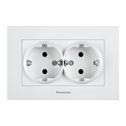 Double Socket 2P+E, Complete WKTC0205-2WH