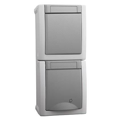 One-way Switch & Socket 2P+E, Vertical WPTC4851-2GR