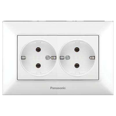 Double Socket 2P+E, Complete WNTC02052WH