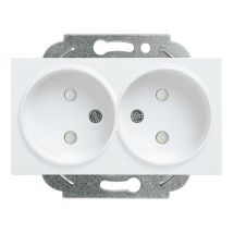 Double Socket 2P, With Safety Shutter, Mechanism+Cover