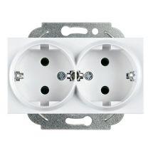 Double Socket 2P+E, Mechanism+Cover