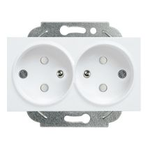Double Socket 2P+E (French Type), With Safety Shutter, Mechanism+Cover
