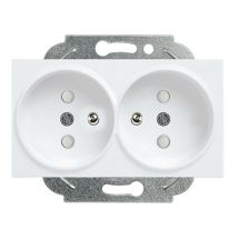 Double Socket 2P+E, With Safety Shutter, Mechanism+Cover