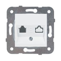 Double Keystone Socket without connector, Mechanism+Cover