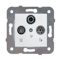 TV-Rad-SAT Socket, Terminated, Mechanism+Cover
